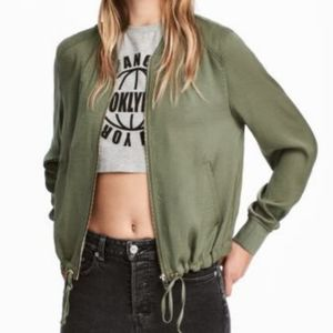 H&M Devided green satin Bomber jacket